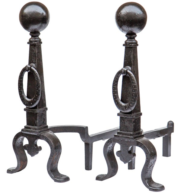 Pair of 1890s Bradley & Hubbard Tall Andirons For Sale