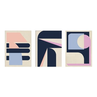 """""""Abstract Pink Navy Graphic"""" Contemporary Acrylic Triptych Paintings - Set of 3 For Sale"""