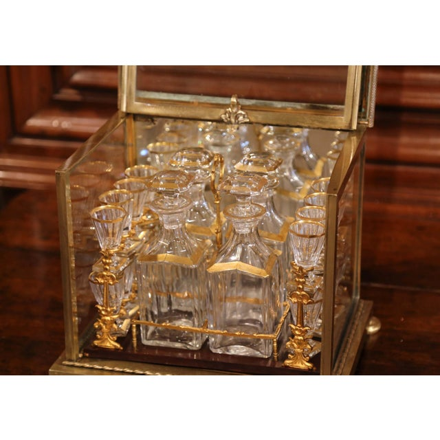 French 19th Century French Napoleon III Gilt Bronze and Glass Complete Cave a Liqueur For Sale - Image 3 of 11