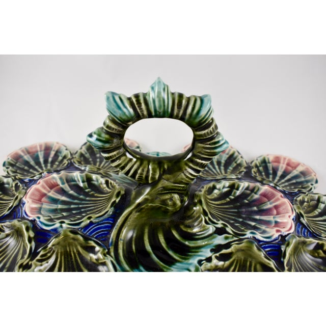 Longchamps Longchamp French Barbotine Majolica Handled Oyster Server For Sale - Image 4 of 11