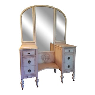 Antique Blush Pink and White Dressing Vanity For Sale
