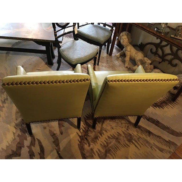 Vintage Lime Green Leather George Smith Club Chairs- A Pair For Sale - Image 9 of 11