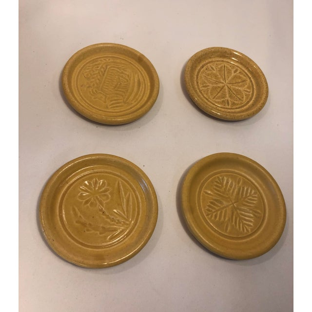 Yellow Pigeon Forge Pottery Yellow Coasters-Ashtrays Old Buttermold - Set of 4 For Sale - Image 8 of 13