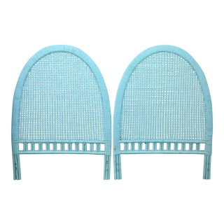 Boho Chic Arched Painted Blue Caned Wicker Bamboo Rattan Twin Headboards - a Pair For Sale
