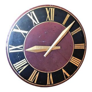 Large French Tower Clock Face, Painted Metal For Sale