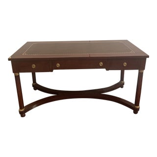 1920s Empire Mahogany Leather Top Writing Table For Sale