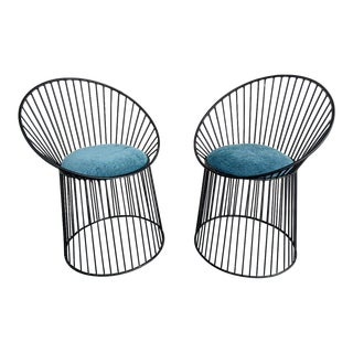 Platner Styled Metal Accent Chairs, a Pair For Sale