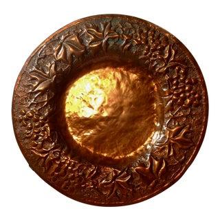 Vintage Copper Repousse Round Platter For Sale