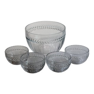Villeroy Boch Miss Desiree Round Crystal Serving Bowl and Small Bowls - 5 Piece Set For Sale