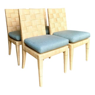 Vintage Coastal Donghia Block Island Dining Chairs - Set of Four For Sale