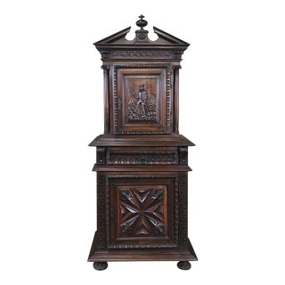 19th Century Louis XIII French Walnut Two-Tiered Cabinet For Sale