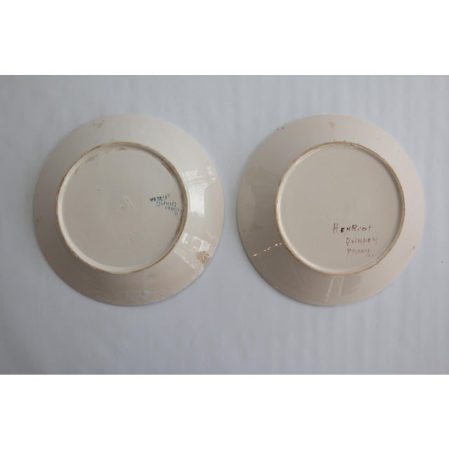 Ceramic Antique French Quimper Plates - a Pair For Sale - Image 7 of 10