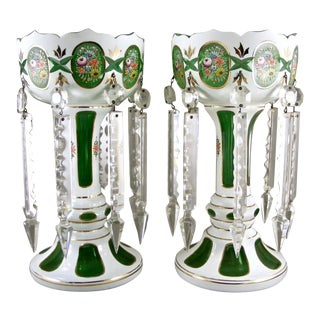 Green Cut to White Cased Hand Painted Bohemian Lustres - a Pair For Sale