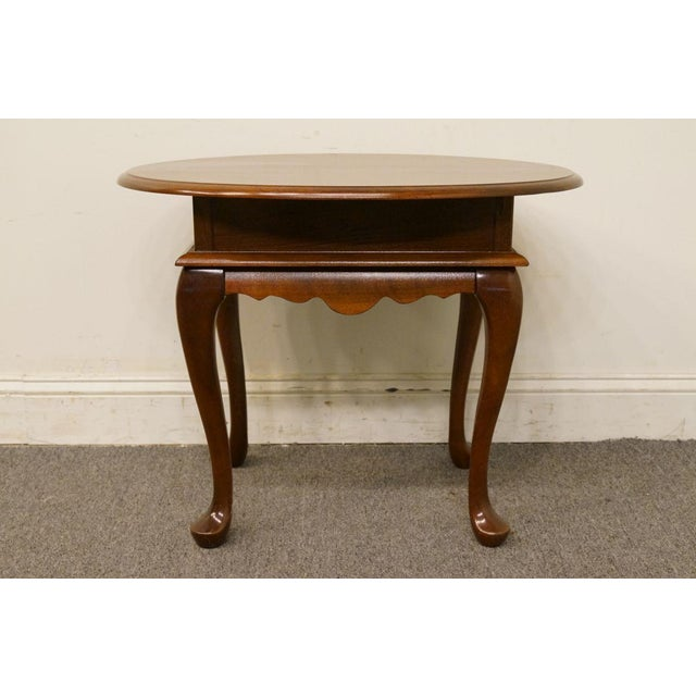Mersman Mersman Solid Cherry Queen Anne Oval End Table For Sale - Image 4 of 8