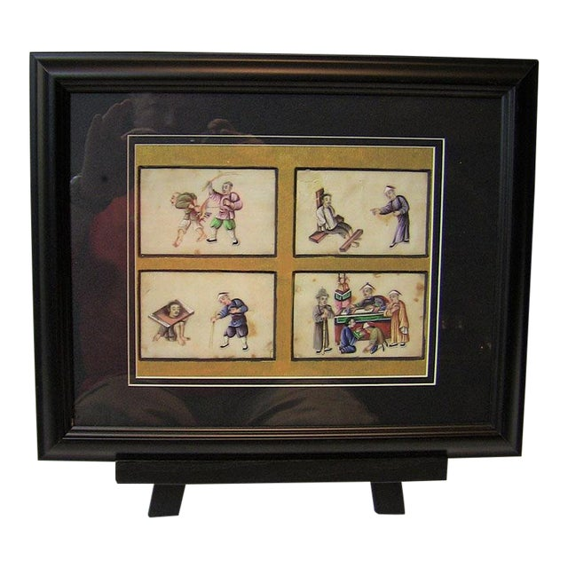 19c Chinese Hand Painted Silk Collage of Chinese Tortures For Sale