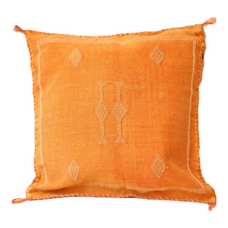 Orange Cactus Silk Sabra Moroccan Pillow Cover For Sale