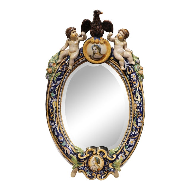19th Century French Painted Ceramic Vanity Mirror With Cherub and Eagle Figures For Sale
