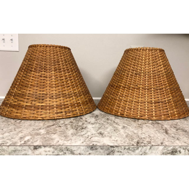 "Vintage rattan wicker lamp shades. In excellent condition! They are 12"" high, 7"" at the top and 17"" at the bottom."