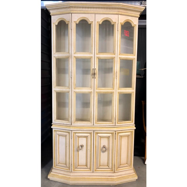 Baker Breakfront French Country Glass Shelves, Lighting and Two Storage Cabinet - 2 Pc. For Sale - Image 12 of 12