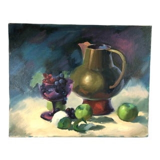 """Still Life Green Apples Grapes and Pitcher"" Contemporary Impressionist Style Oil Painting For Sale"