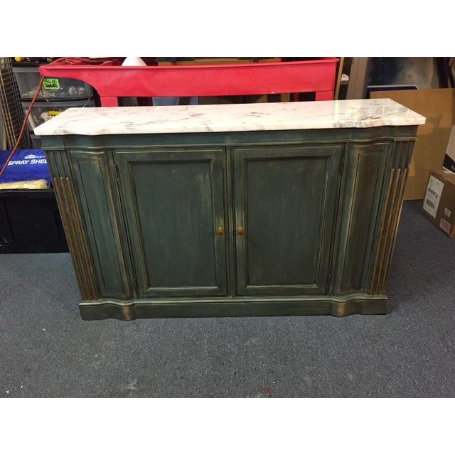 1950s 1950s Shabby Chic Marble Top Green Console Table For Sale - Image 5 of 11