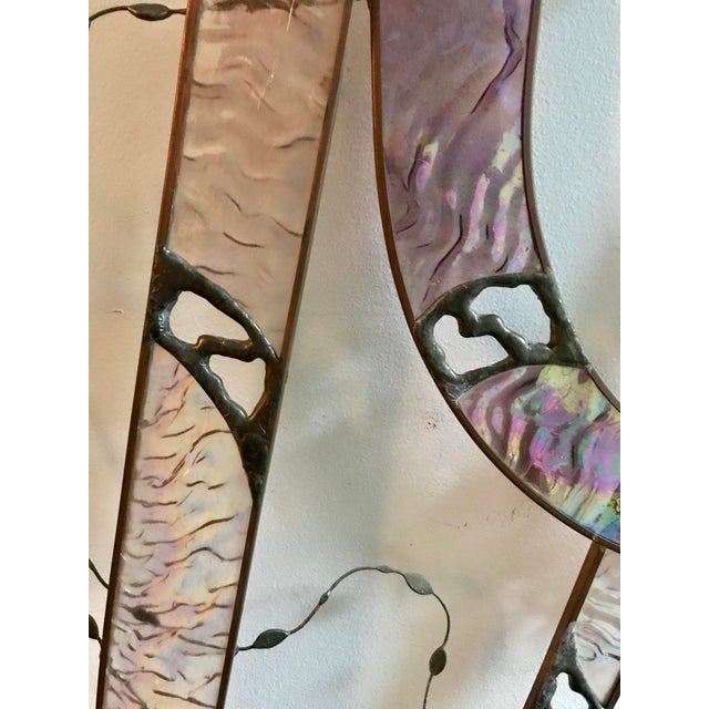 1970s Vintage Stained Glass Sculpture Abstract Wall Art Biomorphic Large For Sale - Image 5 of 9