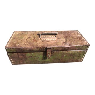 Antique Primitive Steel Riveted Tool Box For Sale