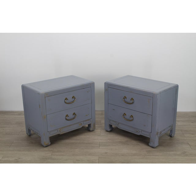 Pair of Mid-Century Gray Nightstands, Hand Painted Nightstands, Pair of Gray Nightstands, 1970's Nightstands For Sale In Miami - Image 6 of 13