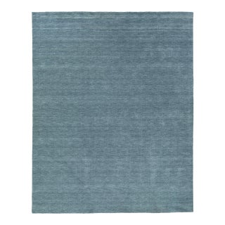 Exquisite Rugs Worcester Handwoven Wool Denim Blue - 9'x12' For Sale