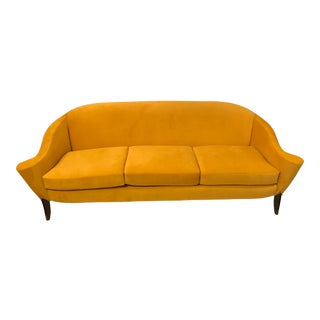 Yellow Art Deco 3 Cushion Couch With New Upholstery For Sale