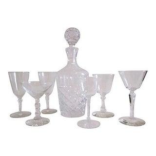 Vintage Crystal Decanter Set - 7 Pieces For Sale