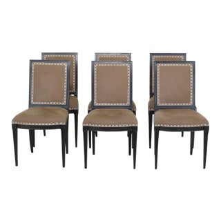 Italian Black & Tan Suede Dining Room Chairs - Set of 6 For Sale