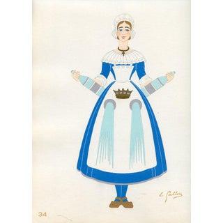 1930s, French Provincial Costumes - Bourbonnais, Original Pochoir Print For Sale