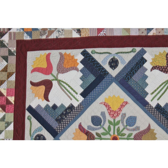 20th Century Amazing Center Star Medallion Quilt - Image 7 of 9