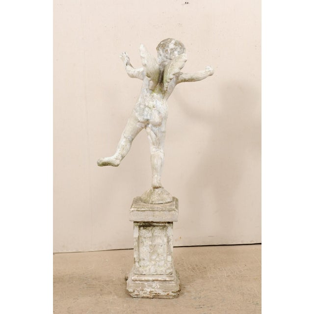 Early 20th Century French Antique Cupid Garden Statue For Sale - Image 10 of 12
