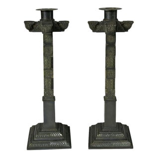 19th Century Antique Bronze Square Column Candleholders- a Pair For Sale