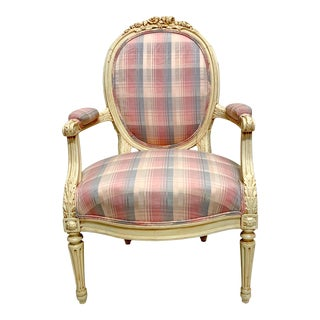 1940s Carved French Style Bergere Chair For Sale