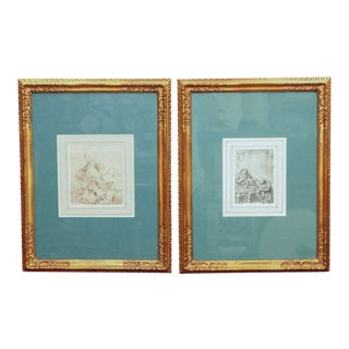 Pair of 18th Century Pen and Ink Drawings For Sale