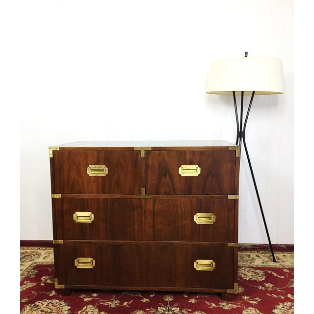 Campaign Baker Furniture Mid Century Campaign Style Dresser For Sale - Image 3 of 11