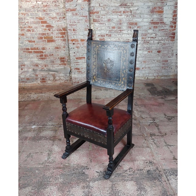 Spanish Renaissance Carved & Embossed Leather Side Chair For Sale - Image 10 of 10