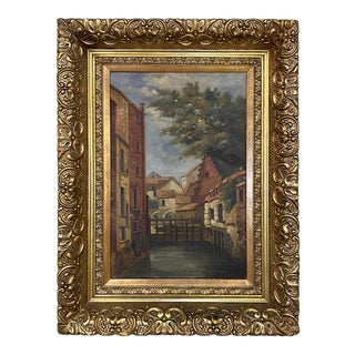 Antique Framed Oil Painting on Canvas of the City of Ghent For Sale