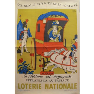 "1959 Original French Advertising Poster, Loterie Nationale ""La Fortune Est Voyageuse"" (Napoléon), by Lucien Boucher For Sale"