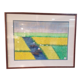 Working the Rice Fields Pastel Painting For Sale