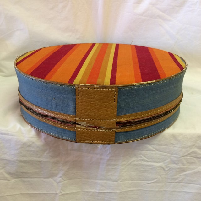 Vintage Round Carry on Suitcase With Stripes and French Train Label For Sale - Image 4 of 11