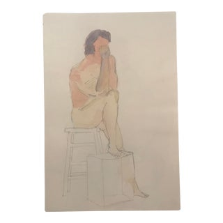 Seated Male Nude Watercolor, 1980s For Sale