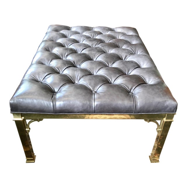 Early 20th Century Hollywood Regency Restored Brass Coffee Table/Ottoman For Sale