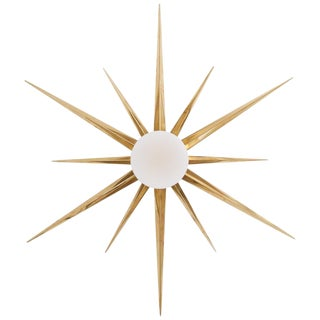 1 of 2 Starburst Brass and Glass Flush Mount in the Manner of Angelo Lelli For Sale
