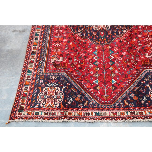 "Islamic 1970's Persian Qashqai Area Rug-6'4'x9'4"" For Sale - Image 3 of 10"