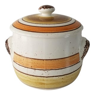 1970s Vintage French Pottery Decorative Lidded Jar For Sale