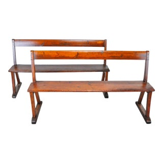 Antique Pair of French Farmhouse Style Rustic Pine Benches For Sale